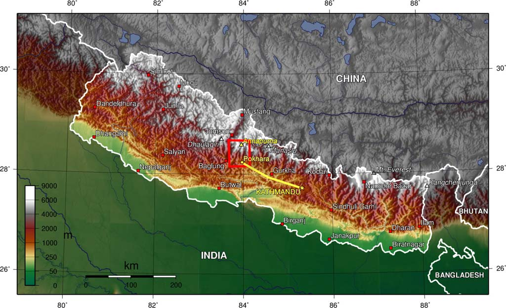 Map: First trek from Pokhara